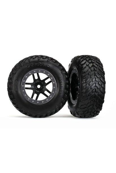 Tires & wheels, glued on SCT Black chrome wheels TSM Rated, TRX5889