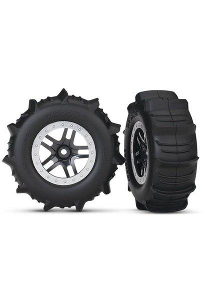 Tires & Wheels, Assembled, Glued Paddle (Sct Split- Black,, TRX5891