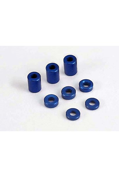 Blue-anodized, aluminum spacers (3x6x8mm) (3)/ (3x6x1.5mm) (, TRX4829