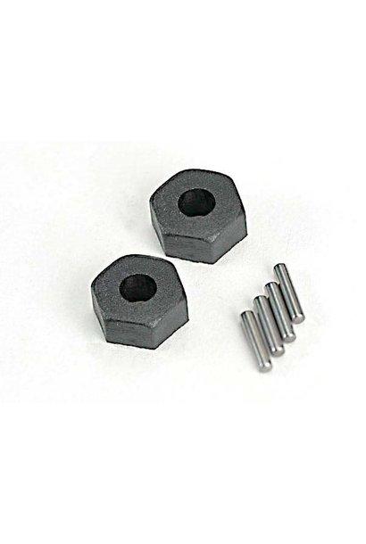 Wheel hubs, hex (2)/ stub axle pins (2), TRX1654