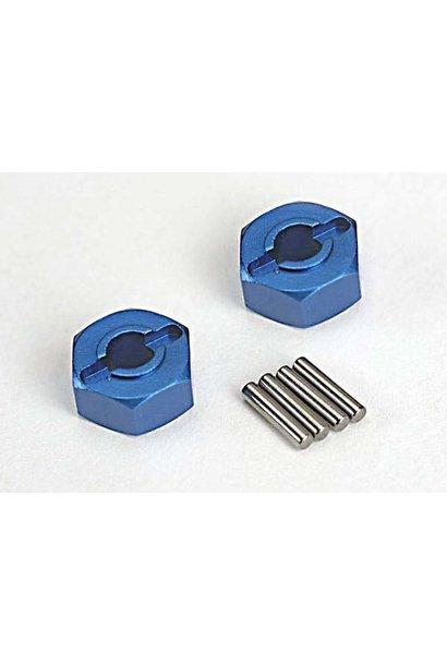 Wheel hubs, hex (blue-anodized, lightweight aluminum) (2)/ a, TRX1654X