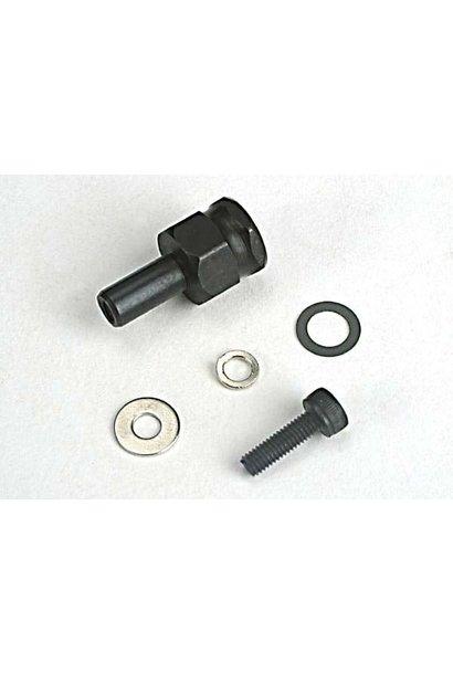 Adapter nut, clutch/ 3x10mm cap screw/washer/ split washer (, TRX4844