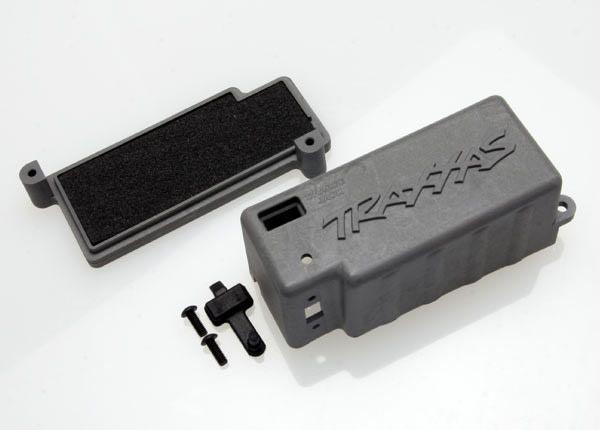 Box, battery (grey)/ adhesive foam chassis pad/charge jack p, TRX4925X-1