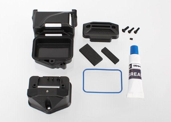 Box, receiver (sealed) (servo mount)/ foam (2)/ BCS 3x10mm/, TRX6424-1