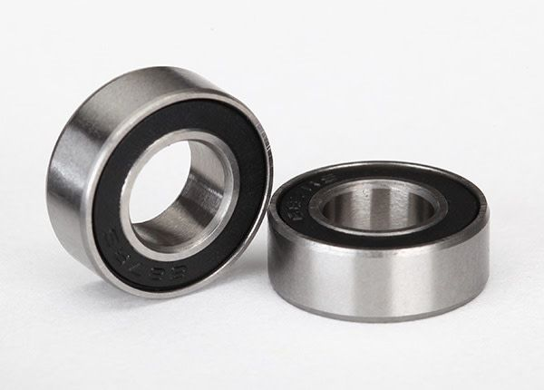 Ball bearings, black rubber sealed (7x14x5mm) (2), TRX5103A-1