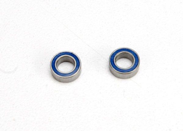 Ball bearings, blue rubber sealed (4x7x2.5mm) (2), TRX5124-1
