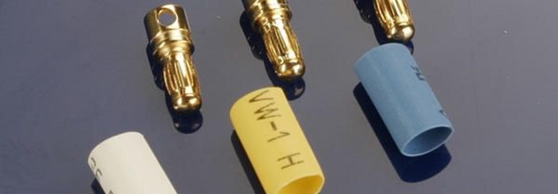 Bullet connectors, male, 3.5mm (3) / heat shrink, TRX3342
