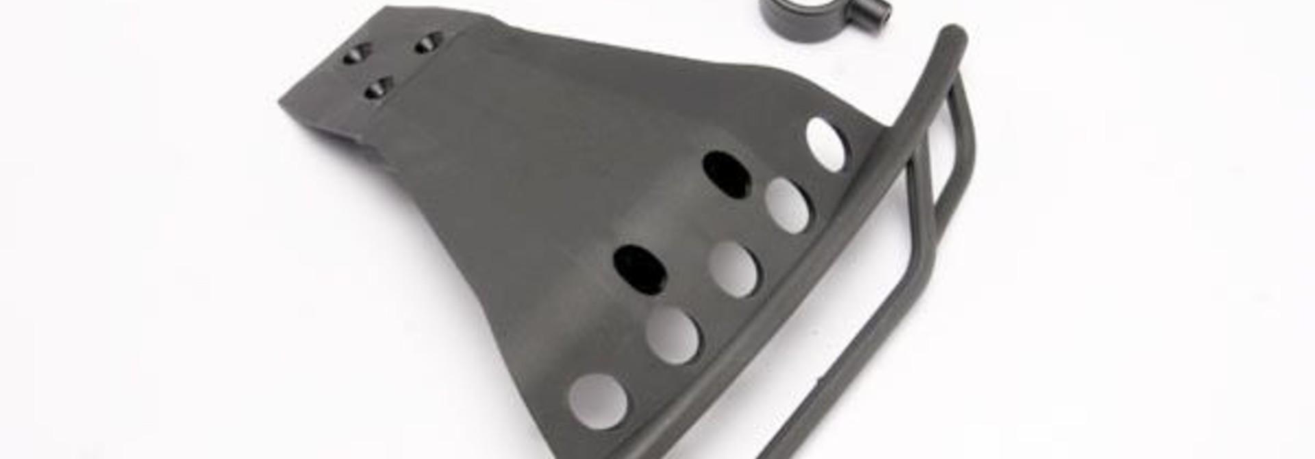 Bumper, front/ bumper mount, front (black), TRX6835