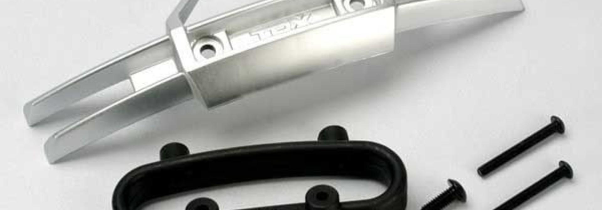 Bumper, front/ bumper mount, front/ 4x10mm BCS (2)/ 3x25mm B, TRX5335