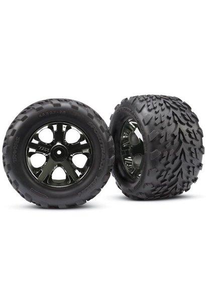 Tires & wheels, assembled, glued (2.8) (All-Star black chrom, TRX3669A