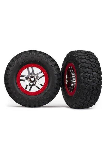 Tire & wheel assy, glued (S1 compound) (SCT SS, chrome red b, TRX6873R