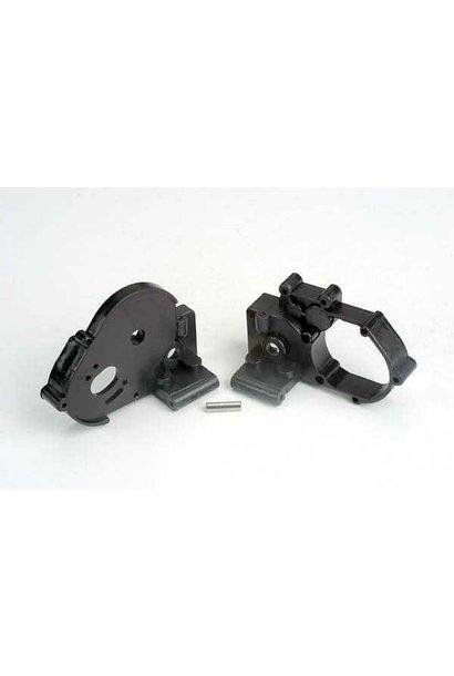 Gearbox halves (l&r) (black) w/ idler gear shaft, TRX3691