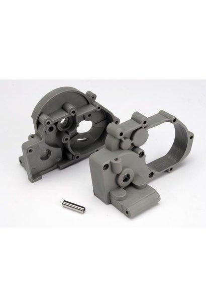 Gearbox halves (l&r) (grey) w/ idler gear shaft, TRX3691A