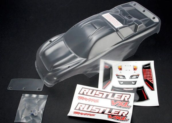 Body, Rustler (clear, requires painting)/window, lights deca, TRX3714-1