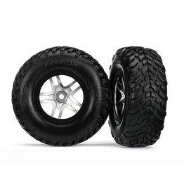 Traxxas Tires & wheels, glued on SCT Satin hrome wheels TSM S1 compo
