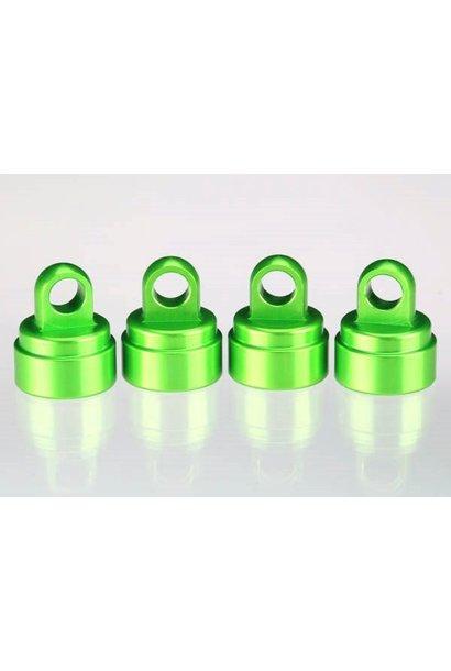 Shock caps, aluminum (green-anodized) (4) (fits all Ultra Sh, TRX3767G
