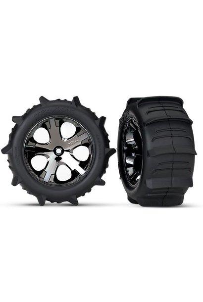 Tires & wheels, assembled, glued Paddle (All-Star black chro, TRX3776