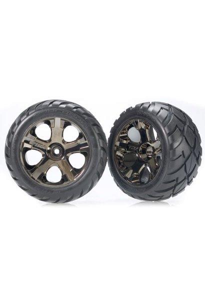 Tires & wheels, assembled, glued (All-Star black chrome whee, TRX3776A