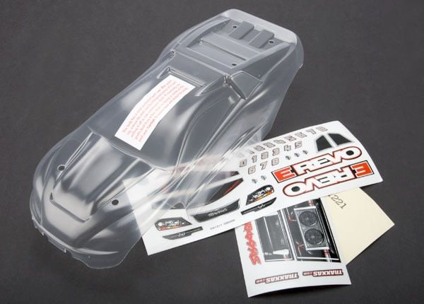 Body, 1/16 E-Revo (clear, requires painting)/ grill and ligh, TRX7111-1
