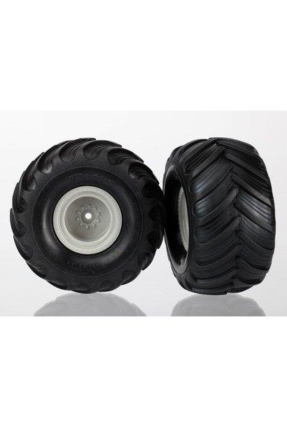 Tires & wheels, assembled (Monster Jam replica grey wheels,, TRX7265