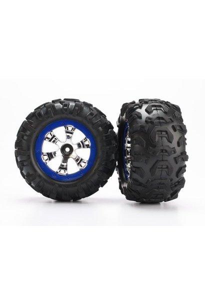 Tires and wheels, assembled, glued (Geode chrome, blue beadl, TRX7274