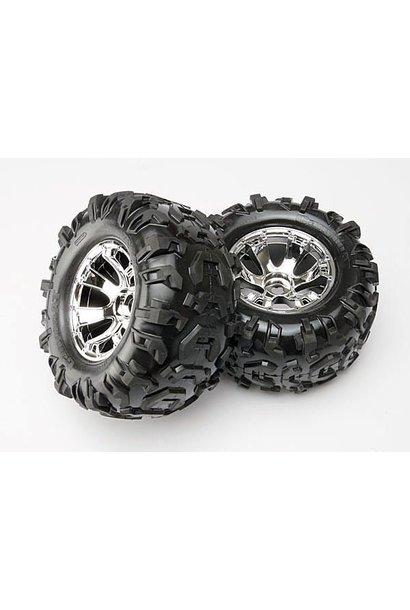 Tires & wheels, assembled, glued (Geode chrome wheels, Canyo, TRX5673