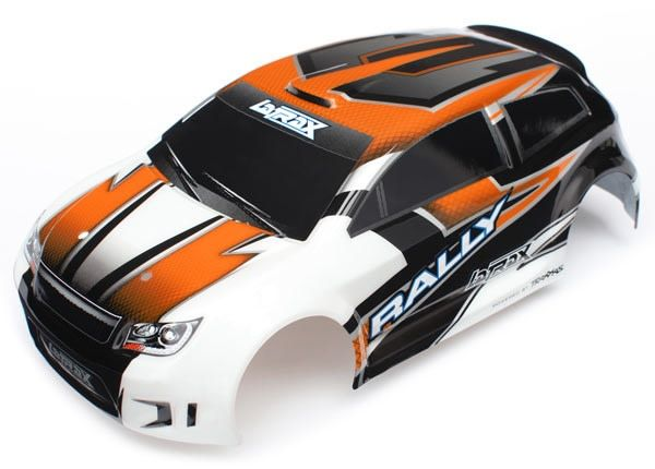 Body, Latrax 1/18 Rally, Orange (Painted)/ Decals, TRX7517-1