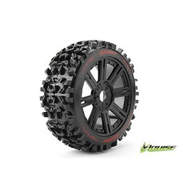Louise RC Louise RC - B-PIONEER - 1-8 Buggy Tire Set - Mounted - Soft - Black Spoke Rims - Hex 17mm - L-T3130SB