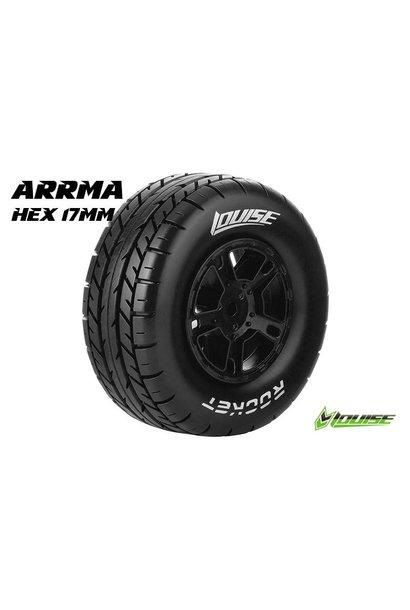 Louise RC - SC-ROCKET - 1-10 Short Course Tire Set - Mounted - Soft  - Black Rims - Hex 17mm - L-T3154SBM