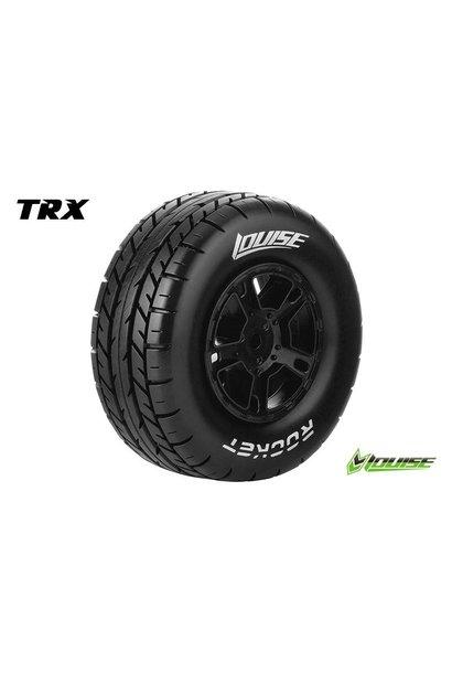 Louise RC - SC-ROCKET - 1-10 Short Course Tire Set - Mounted - Soft - Black Rims - Hex 12mm - SLASH 2WD Rear - SLASH 4X4 F/R - L-T3154SBTR