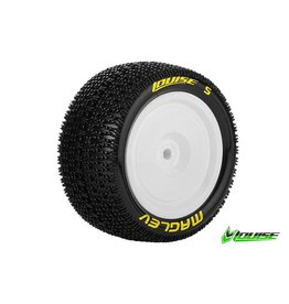 Louise RC Louise RC - E-MAGLEV - 1-10 Buggy Tire Set - Mounted - Soft - White Rims - Hex 12mm - 4WD - Rear - L-T3176SWKR