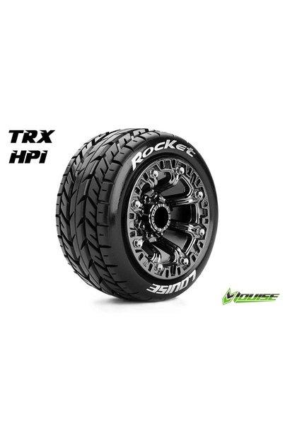 Louise RC - ST-ROCKET - 1-16 Truck Tire Set - Mounted - Sport - Black Chrome 2.2 Rims - Hex 12mm - L-T3188SBC