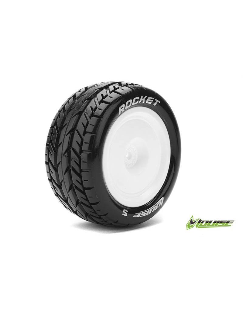 Louise RC Louise RC - E-ROCKET - 1-10 Buggy Tire Set - Mounted - Soft - White Rims - Hex 12mm - 4WD - Rear - L-T3188SWKR