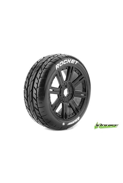 Louise RC - B-ROCKET - 1-8 Buggy Tire Set - Mounted - Soft - Black Spoke Rims - Hex 17mm - L-T3190SB