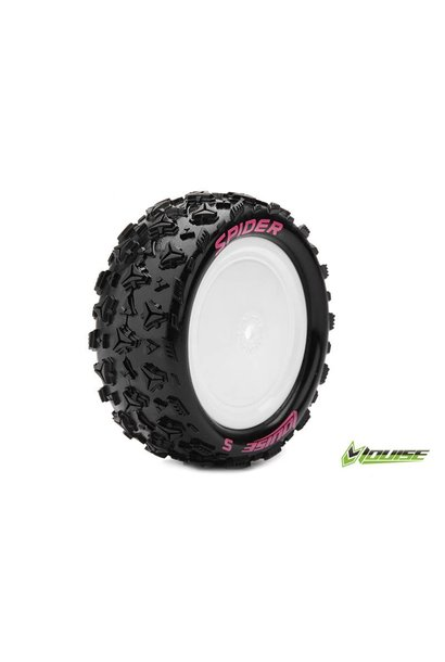 Louise RC - E-SPIDER - 1-10 Buggy Tire Set - Mounted - Soft - White Rims - Hex 12mm - 4WD - Front - L-T3198SWKF