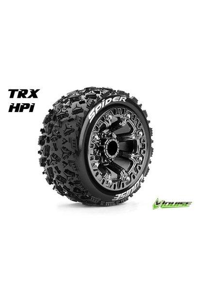 Louise RC - ST-SPIDER - 1-16 Truck Tire Set - Mounted - Sport - Black Chrome 2.2 Rims - Hex 12mm - L-T3200SBC
