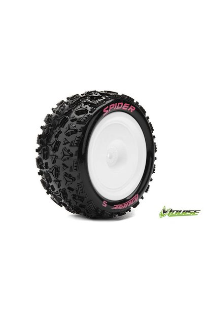 Louise RC - E-SPIDER - 1-10 Buggy Tire Set - Mounted - Soft - White Rims - Hex 12mm - 4WD - Rear - L-T3200SWKR