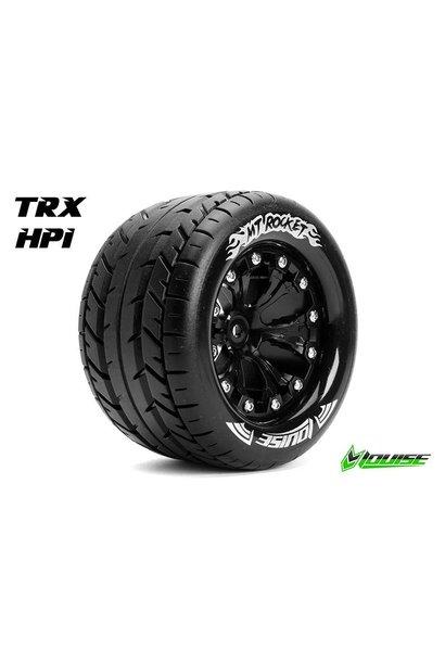 Louise RC - MT-ROCKET - 1-10 Monster Truck Tire Set - Mounted - Sport - Black 2.8 Rims - 1/2-Offset - Hex 12mm - L-T3201SBH