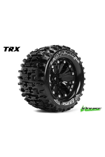 Louise RC - MT-PIONEER - 1-10 Monster Truck Tire Set - Mounted - Sport - Black 2.8 Rims - 0-Offset - Hex 12mm - L-T3202SB