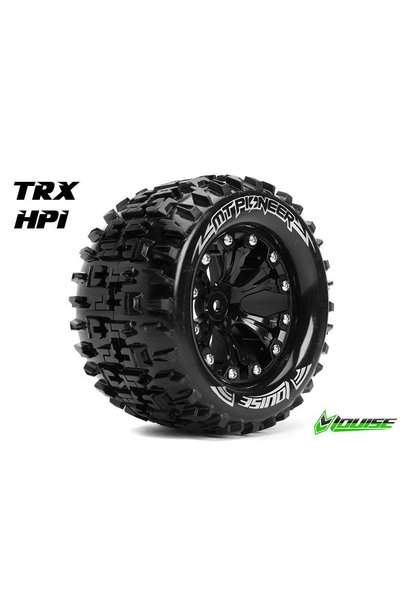 Louise RC - MT-PIONEER - 1-10 Monster Truck Tire Set - Mounted - Sport - Black 2.8 Rims - 1/2-Offset - Hex 12mm - L-T3202SBH