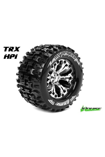Louise RC - MT-PIONEER - 1-10 Monster Truck Tire Set - Mounted - Sport - Chrome 2.8 Rims - 1/2-Offset - Hex 12mm - L-T3202SCH