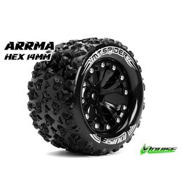 Louise RC Louise RC - MT-SPIDER - 1-10 Monster Truck Tire Set - Mounted - Sport - Black 2.8 Rims - Hex 14mm - L-T3203SBM