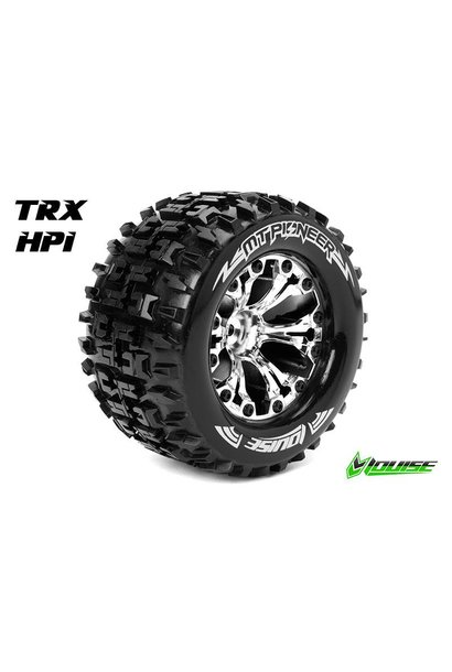 Louise RC - MT-SPIDER - 1-10 Monster Truck Tire Set - Mounted - Sport - Chrome 2.8 Rims - 1/2-Offset - Hex 12mm - 1 pair - L-T3203SCH