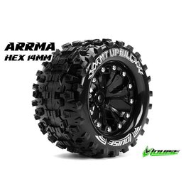 Louise RC Louise RC - MT-UPHILL - 1-10 Monster Truck Tire Set - Mounted - Sport - Black 2.8 Rims - Hex 14mm - L-T3204SBM