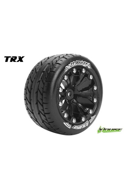 Louise RC - ST-ROCKET - 1-10 Stadium Truck Tire Set - Mounted - Sport - Black 2.8 Rims - 0-Offset - Hex 12mm - L-T3208SB