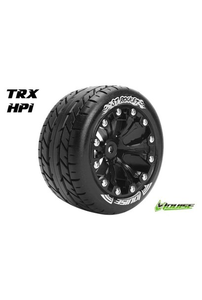 Louise RC - ST-ROCKET - 1-10 Stadium Truck Tire Set - Mounted - Sport - Black 2.8 Rims - 1/2-Offset - Hex 12mm - L-T3208SBH