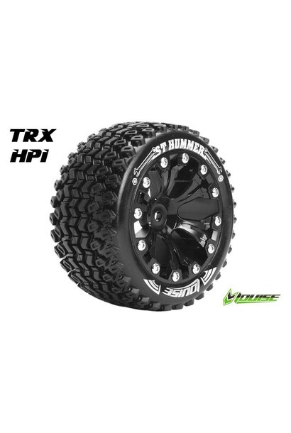 Louise RC - ST-HUMMER - 1-10 Stadium Truck Tire Set - Mounted - Sport - Black 2.8 Rims - 1/2-Offset - Hex 12mm - L-T3209SBH