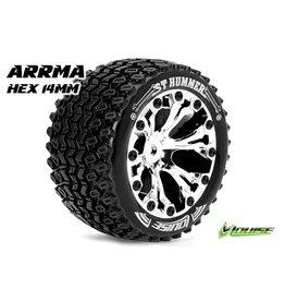Louise RC Louise RC - ST-HUMMER - 1-10 Stadium Truck Tire Set - Mounted - Sport - Black 2.8 Rims - Hex 14mm - L-T3209SBM