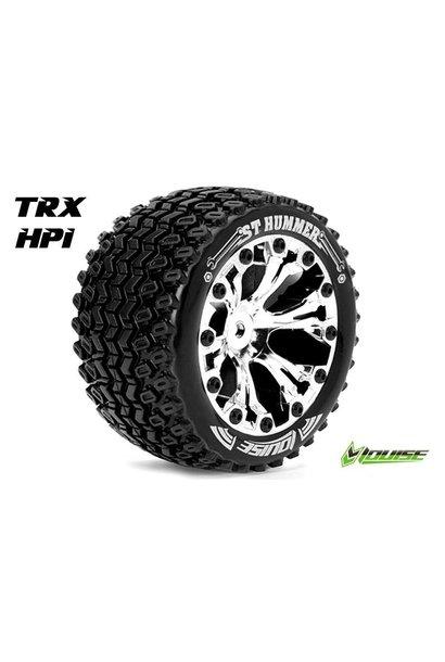 Louise RC - ST-HUMMER - 1-10 Stadium Truck Tire Set - Mounted - Sport - Chrome 2.8 Rims - 1/2-Offset - Hex 12mm - L-T3209SCH