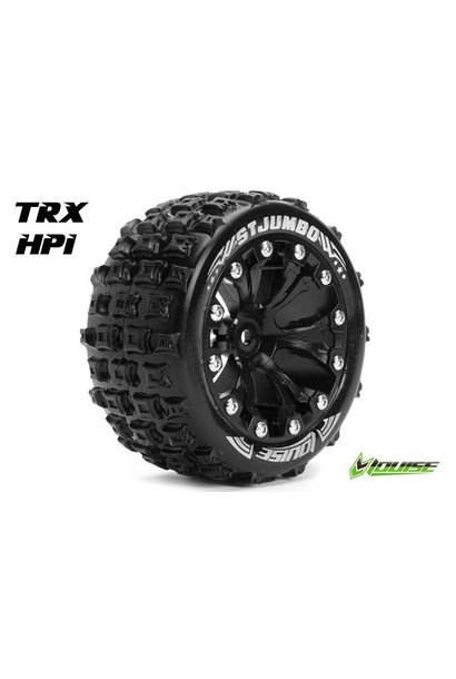 Louise RC - ST-JUMBO - 1-10 Stadium Truck Tire Set - Mounted - Sport - Black 2.8 Rims - 1/2-Offset - Hex 12mm - L-T3210SBH